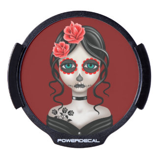Sad Day of the Dead Girl on Red LED Window Decal