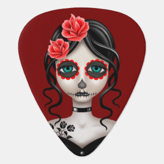 Sad Day of the Dead Girl on Red Pick