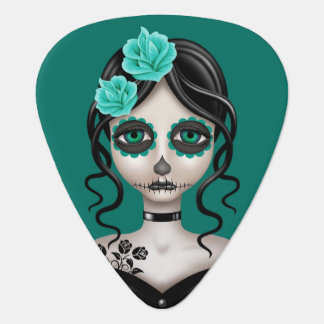 Sad Day of the Dead Girl on Teal Blue Pick