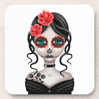 Sad Day of the Dead Girl on White Beverage Coasters