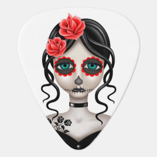 Sad Day of the Dead Girl on White Guitar Pick