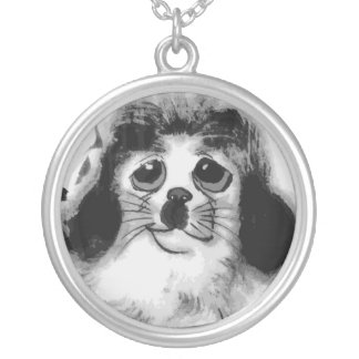 SAD DOG SILVER PLATED NECKLACE