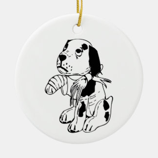 Sad Dog With Broken Leg Ceramic Ornament