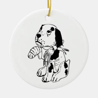 Sad Dog With Broken Leg Ceramic Ornament