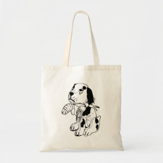 Sad Dog With Broken Leg Tote Bag