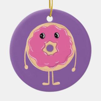 Sad Doughnut Round Ceramic Ornament