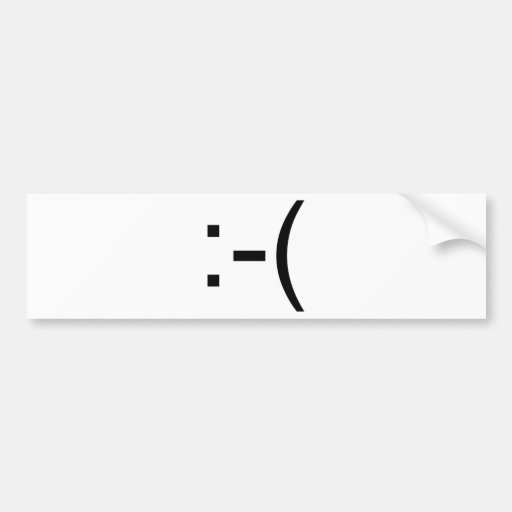 Sad Emoticon! geek products! Bumper Stickers