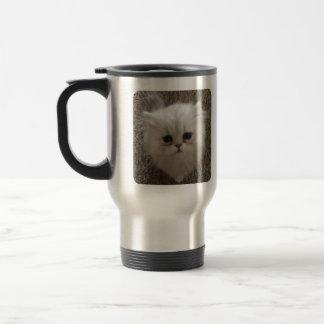 Sad eyes white fluffy kitten looking up travel mug