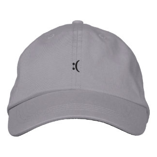 sad face embroidered hat