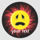 Sad Face; Red Classic Round Sticker
