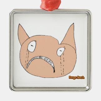 Sad Face Silver-Colored Square Ornament