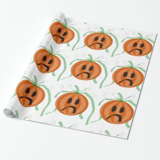 Sad Faced Pumpkin Jack O Lantern Halloween Wrapping Paper