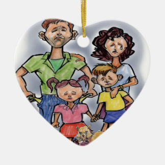 Sad Family Ceramic Ornament
