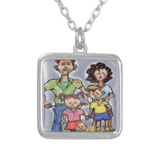 Sad Family Silver Plated Necklace