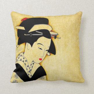 Sad Geisha Soft Yellow Throw Pillow