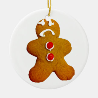 Sad gingerbread man Christmas ornament