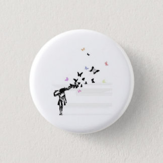 Sad girl and butterfly 1 inch round button