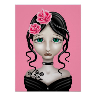 Sad Girl with Pink Roses Print