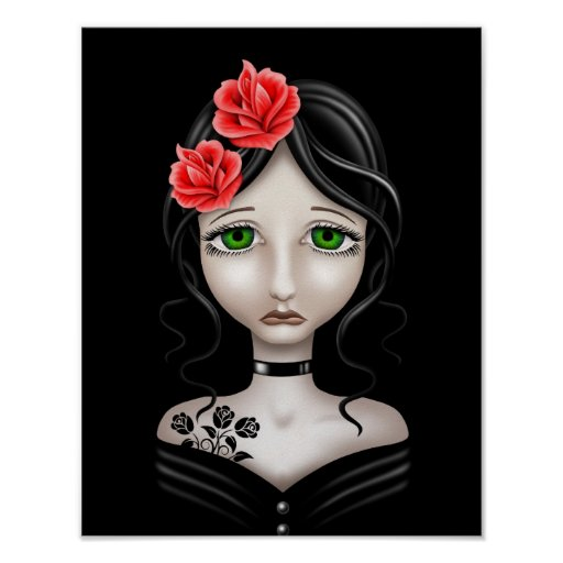 Sad Girl with Red Roses on Black Print