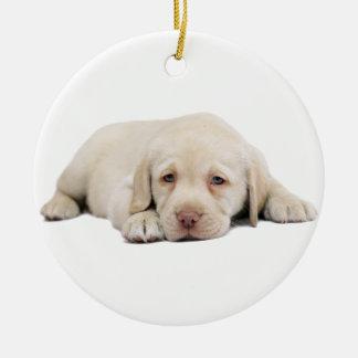 Sad Golden Retriever Puppy Round Ceramic Ornament