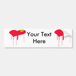 Sad Heart and Sad Face Car Bumper Sticker