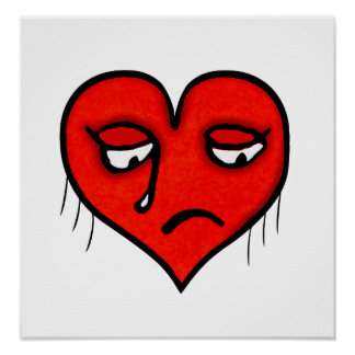 Sad Heart Drawing Posters