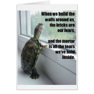 Sad Hipster Turtle greeting card