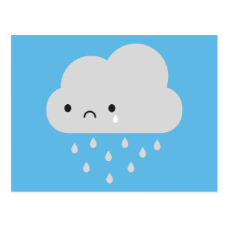 Sad Kawaii Rain Cloud Postcard