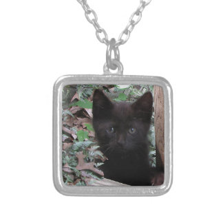 Sad Kitten Garden Silver Plated Necklace