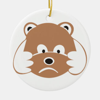 Sad little bear round ceramic ornament