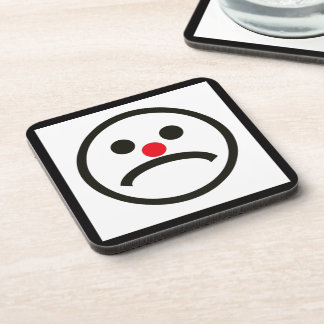Sad Looking Face with Cheeky Red Nose Coaster