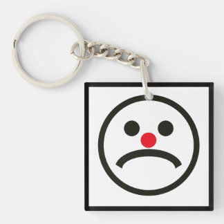Sad Looking Face with Cheeky Red Nose Double-Sided Square Acrylic Keychain