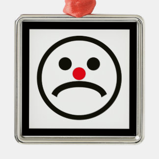 Sad Looking Face with Cheeky Red Nose Silver-Colored Square Ornament