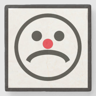 Sad Looking Face with Cheeky Red Nose Stone Coaster