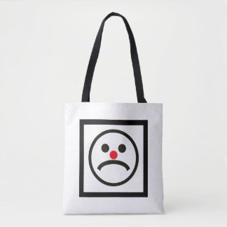 Sad Looking Face with Cheeky Red Nose Tote Bag