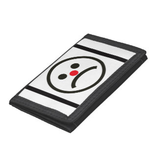 Sad Looking Face with Cheeky Red Nose Trifold Wallet