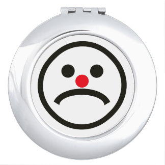 Sad Looking Face with Red Nose Compact Mirror
