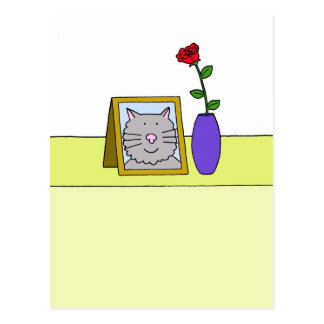 Sad loss of pet cat. postcard
