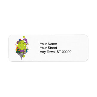 sad monster and friends vector cartoon art return address label