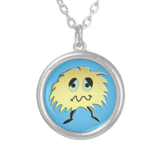 sad monster silver plated necklace