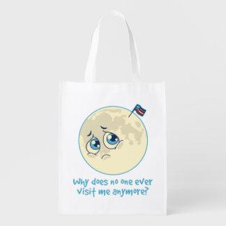 Sad Moon Grocery Bag