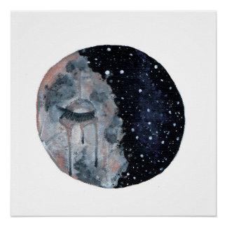 Sad Moon Print Perfect Poster