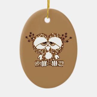 Sad Owl Ceramic Oval Ornament