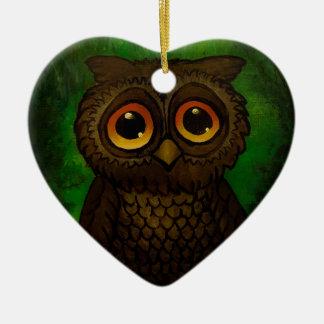 Sad owl eyes ceramic heart ornament