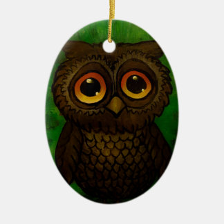 Sad owl eyes ceramic oval ornament