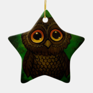 Sad owl eyes ceramic star ornament