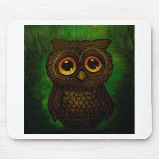 Sad owl eyes mouse pad