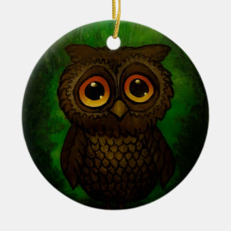 Sad owl eyes round ceramic ornament