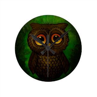 Sad owl eyes round clock