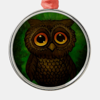 Sad owl eyes Silver-Colored round ornament
